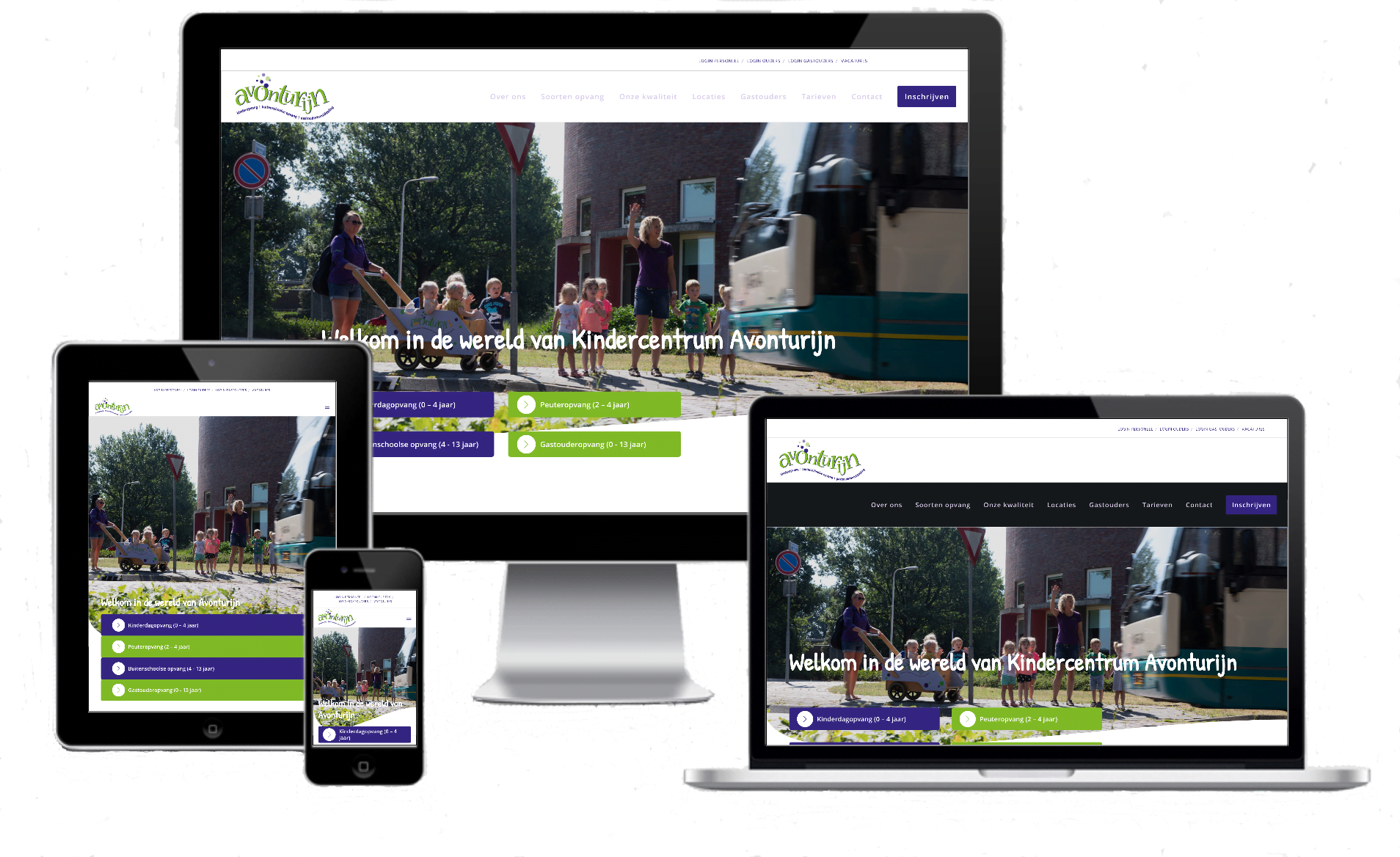 een kinderopvang website die op een computer tablet en smartphone te bekijken is